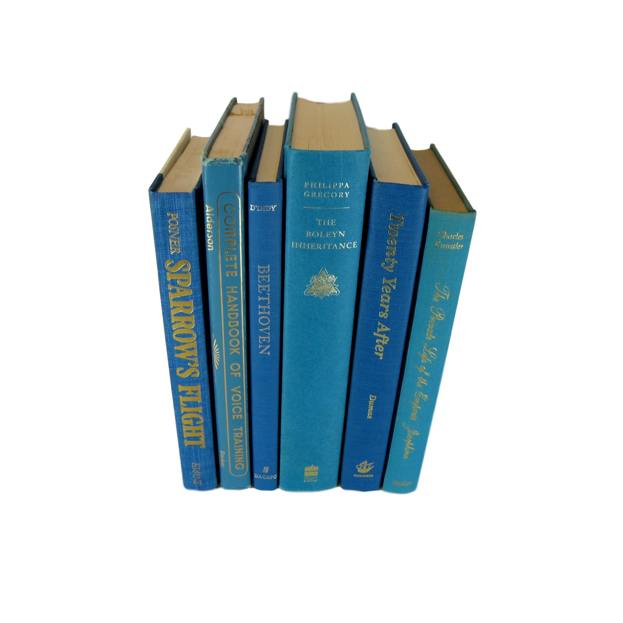 Ocean Blue Decorative Books for Shelf Decor, S/6 - Decades of Vintage