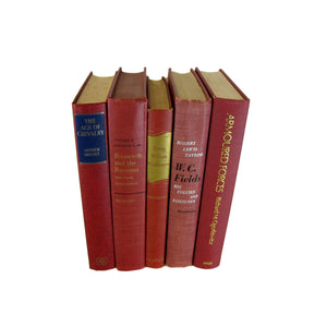 Decorative Book Set in Shades of Red, S/5 - Decades of Vintage