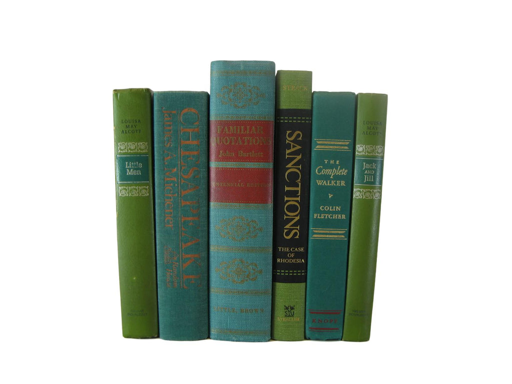 Green  Vintage Books for  Decor, S/6 - Decades of Vintage