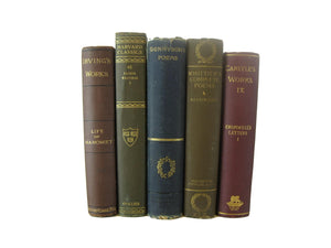 Brown and Green Decorative Antique Books, S/5 - Decades of Vintage