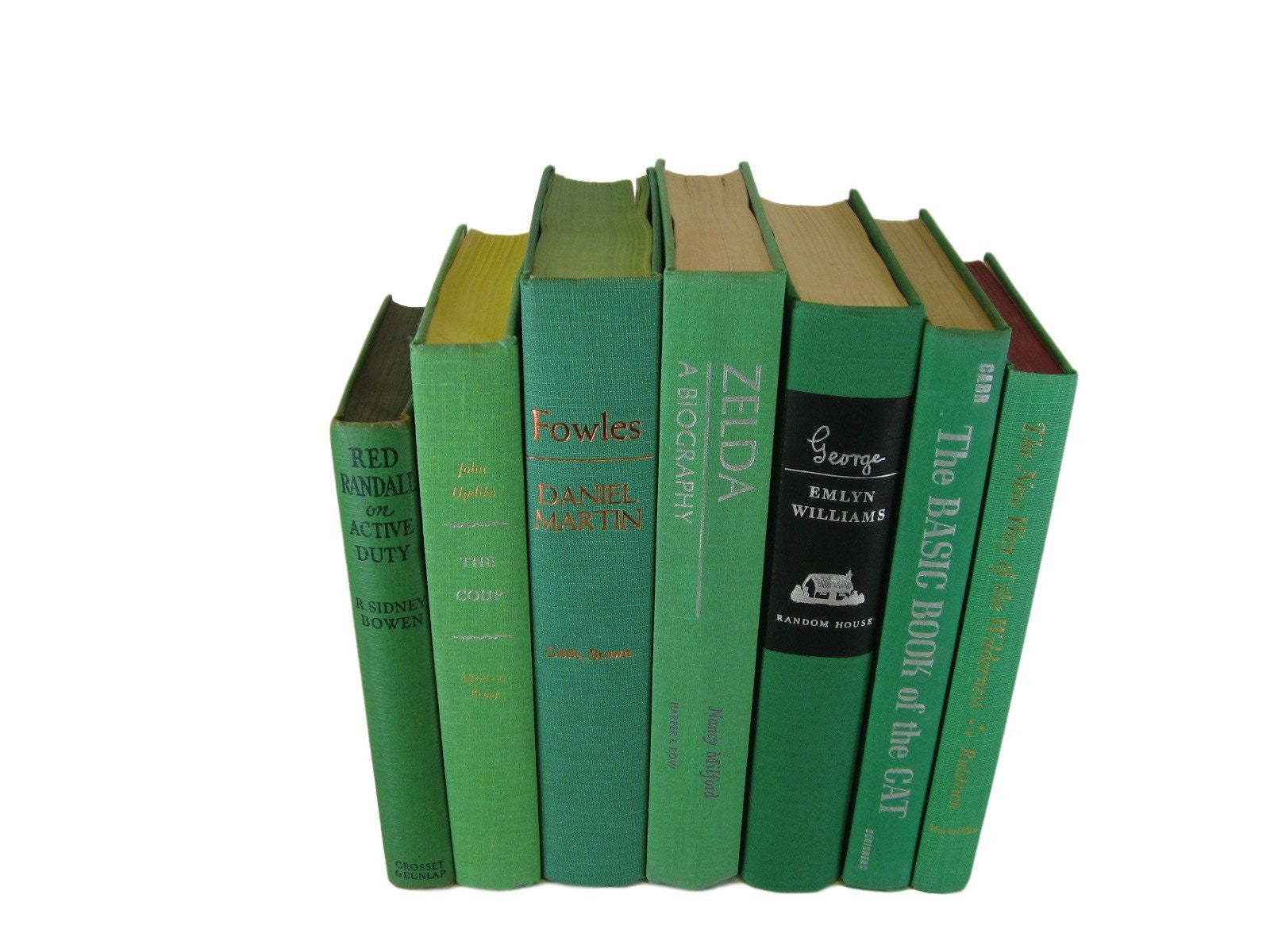 Vintage Book Set in Shades of Green, S/7 - Decades of Vintage