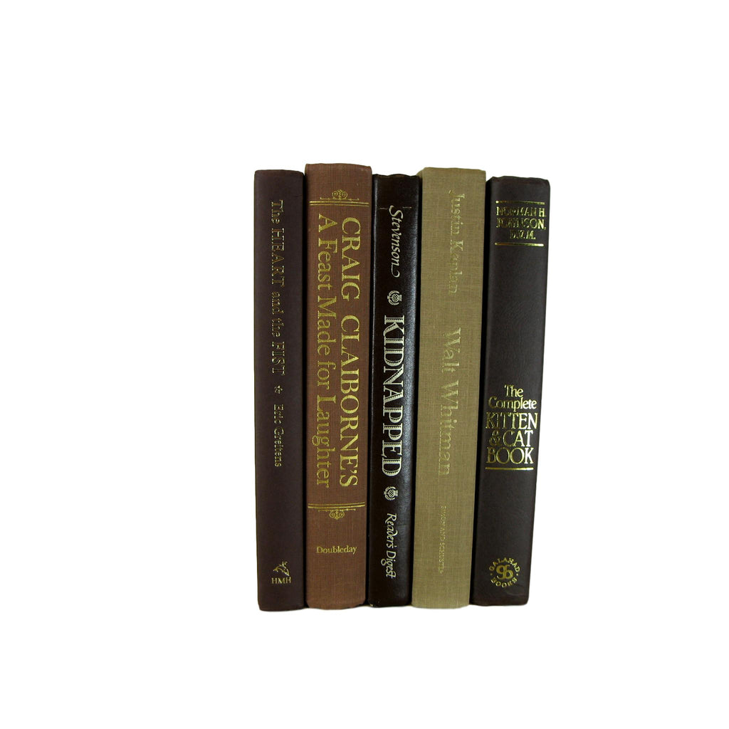 Brown  Decorative Bookshelf Decor,S/5 - Decades of Vintage