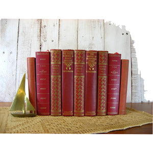 Red Collections of Vintage & Antique Decorative Books by the Foot - Decades of Vintage
