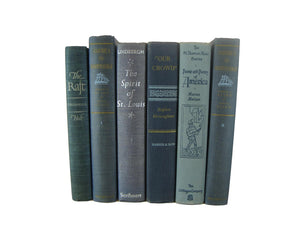 Blue Vintage Stack of Decorative  Books, S/6 - Decades of Vintage