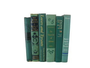 Green Vintage Books for Decoration and Home Decor , S/6 - Decades of Vintage