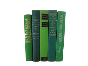 Green Decorative Books for Home Decor, S/5 - Decades of Vintage
