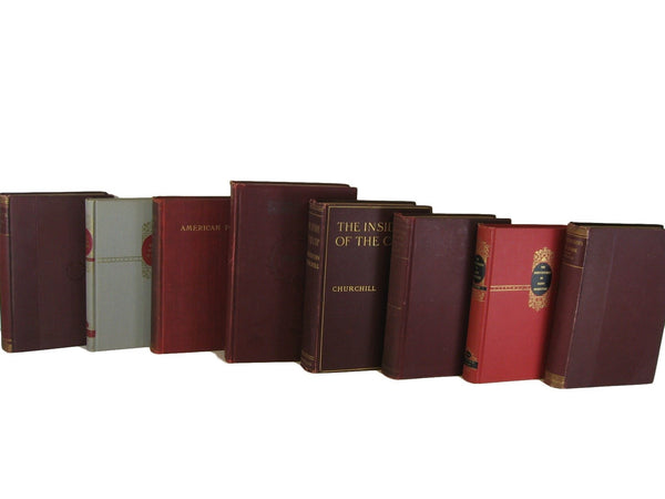 Dark Red Accent Old Book Set, S/8 - Decades of Vintage