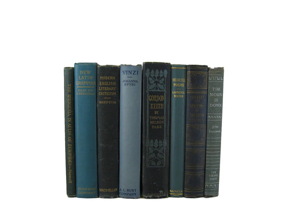Blue Vintage Book Set for Farmhouse Decor, S/8 - Decades of Vintage