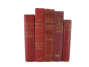 Red Decorative Books, Vintage Book Set, S/5
