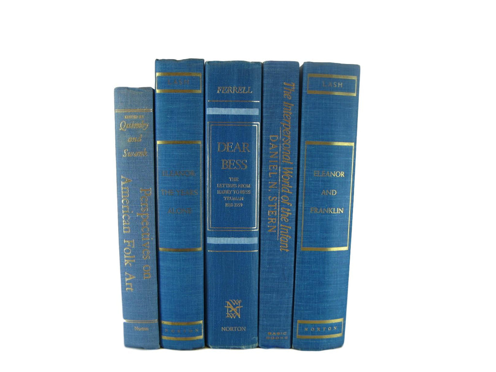 Blue Decorative  Stack of Books Curated with Vintage Books, S/5 - Decades of Vintage