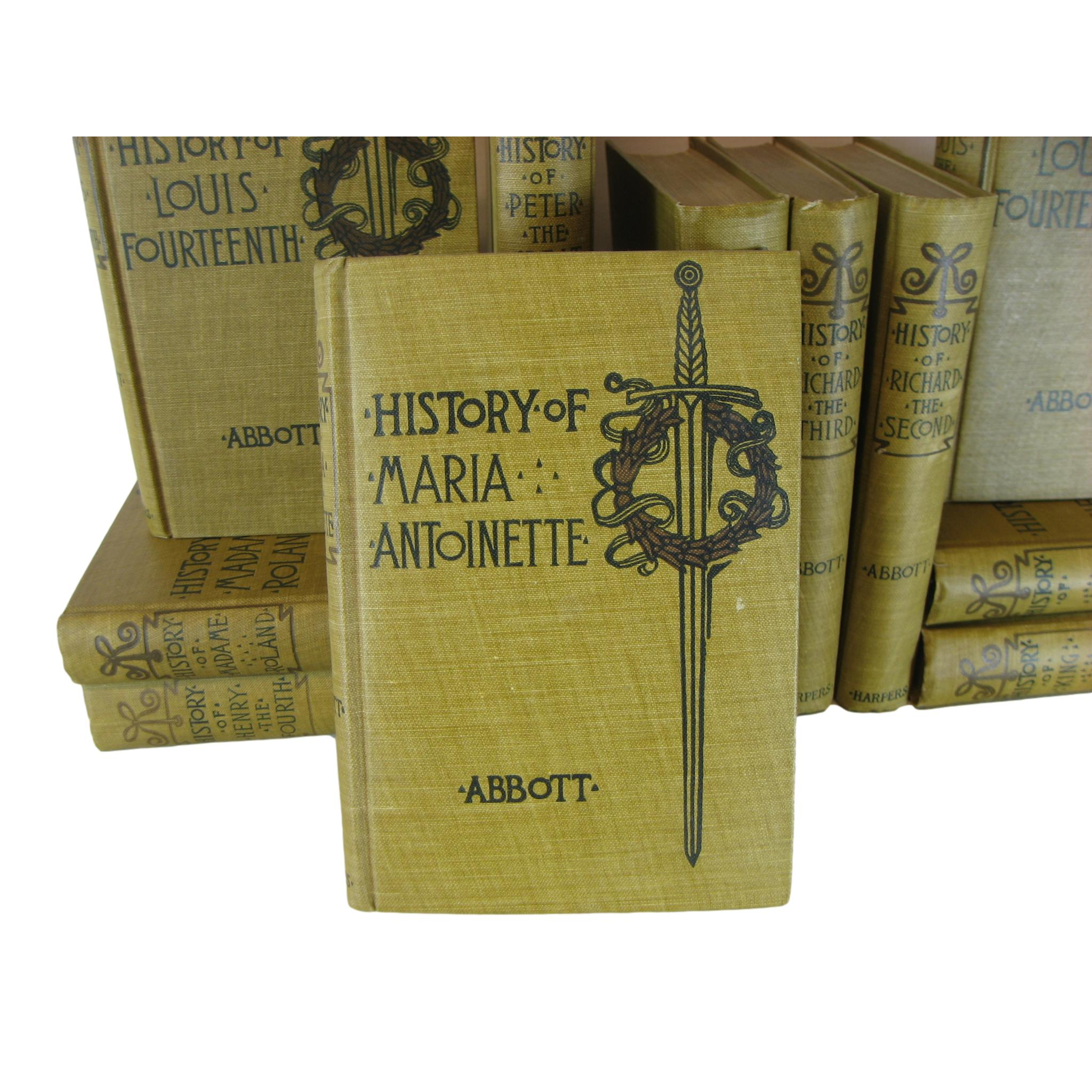 1901 Antique Book Set,  Makers of History Works by Jacob Abbott Books, Decorative Book Stack for Home Decor, S/11 - Decades of Vintage