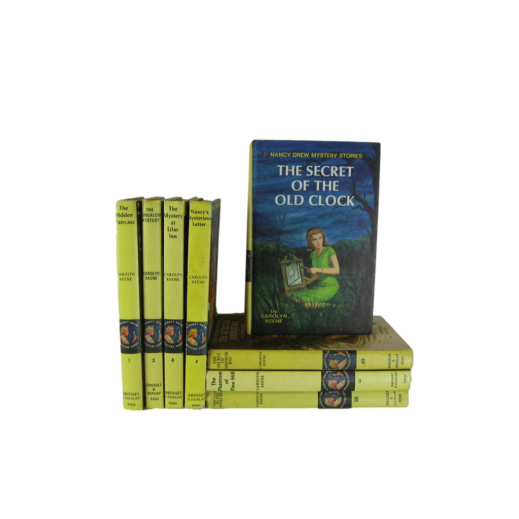 Vintage Nancy Drew Matte Yellow Book Collection, Set of 8 - Decades of Vintage