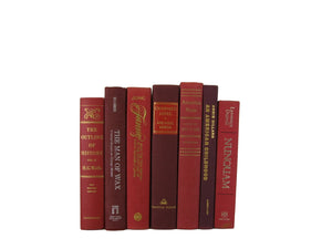 decorative books for red home decor, bookshelves by color