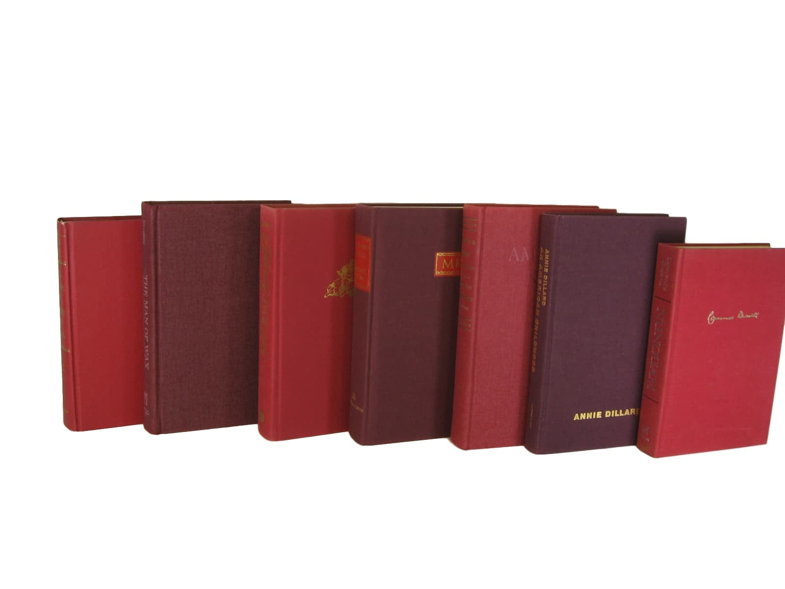 Red Burgundy Maroon Vintage Book Decor, S/7 - Decades of Vintage