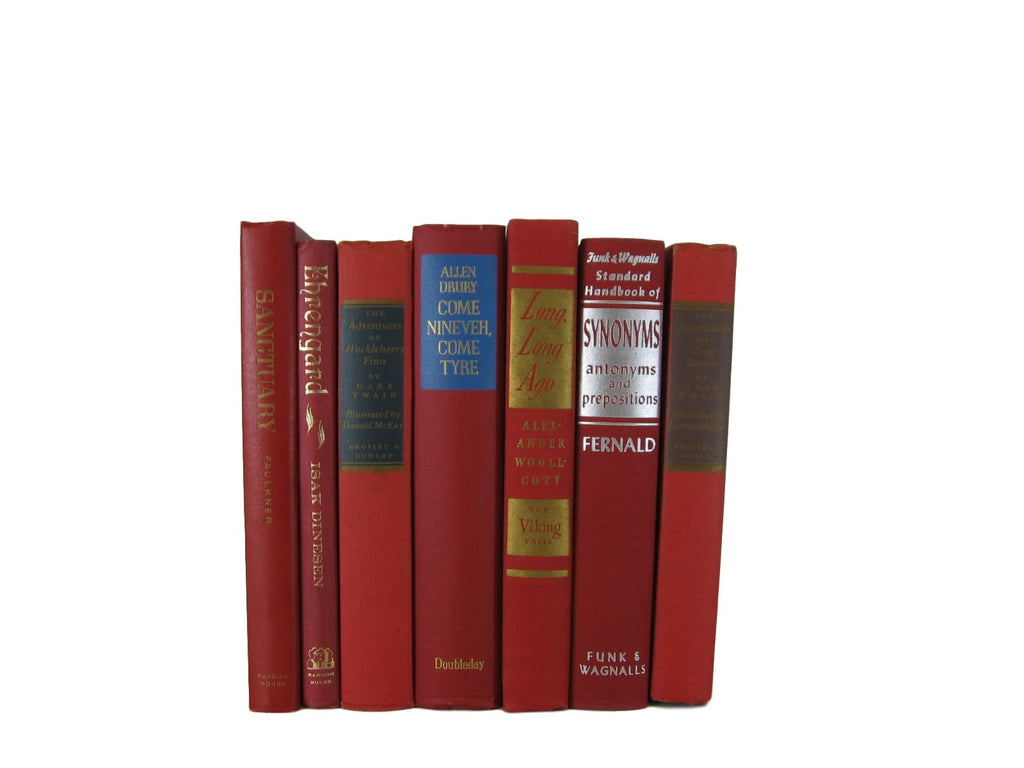 Red Vintage Book Set, S/7 - Decades of Vintage