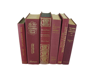 Dark red  vintage decorative books