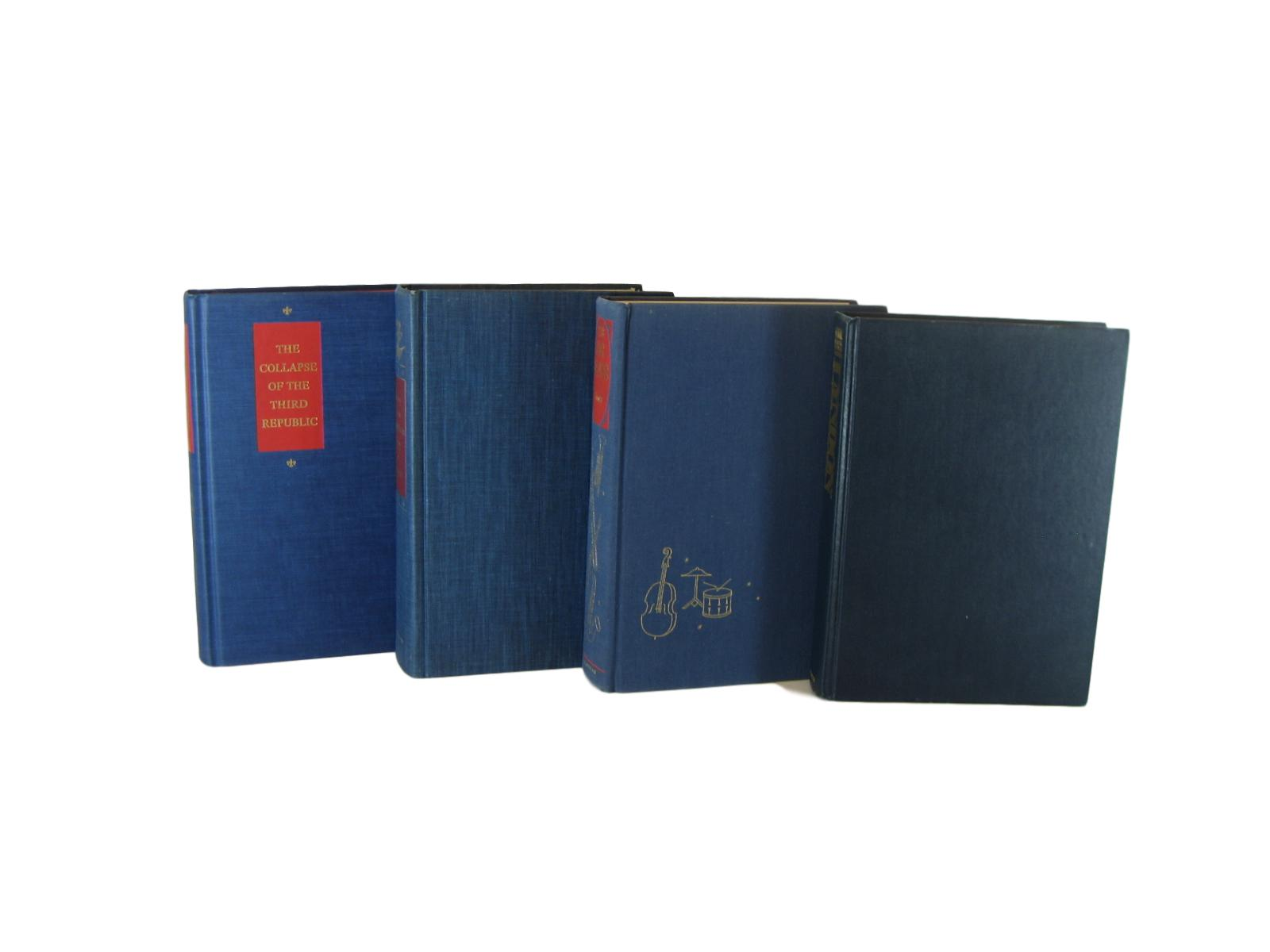 Blue Decorative Books with Red Accents for Bookshelf Decor, S/4 - Decades of Vintage