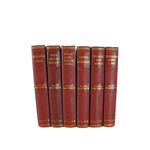 Red Decorative Book Stack of works by Faith Baldwin, S/6 - Decades of Vintage