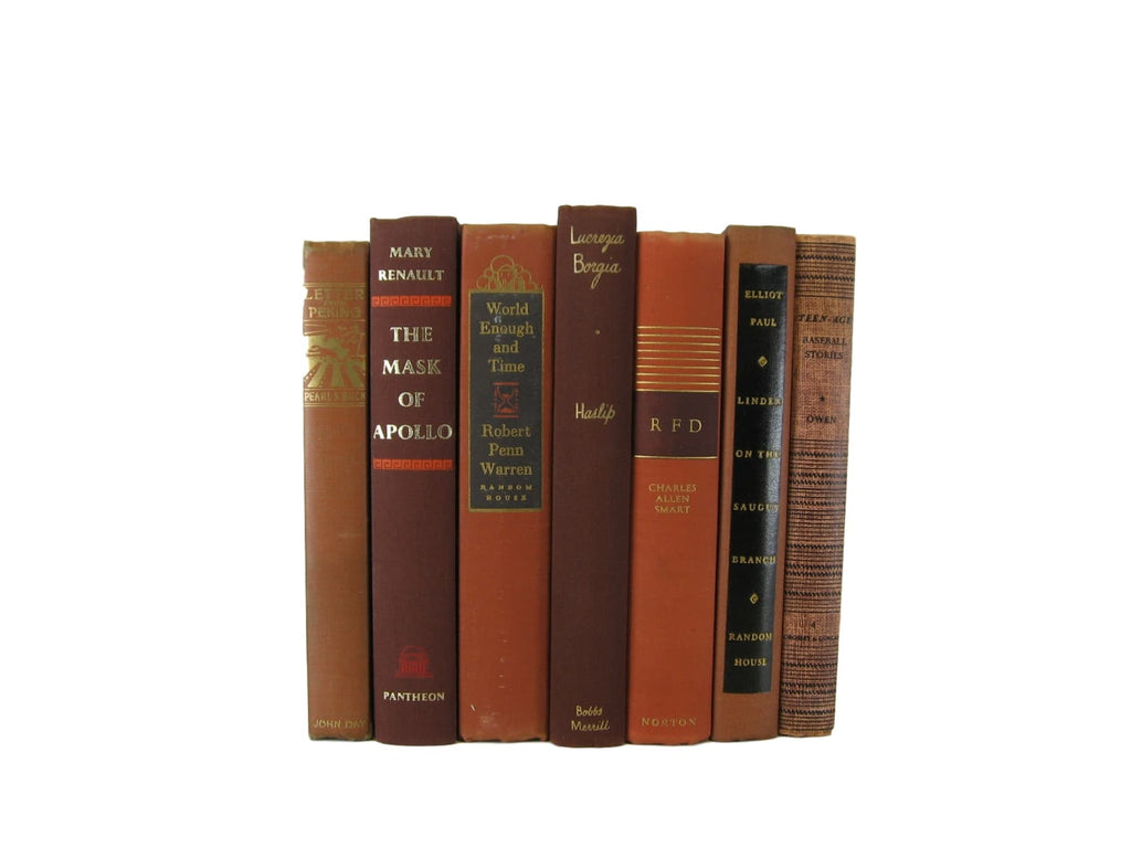 Brown Vintage Books for Farmhouse Decor, S/7 - Decades of Vintage