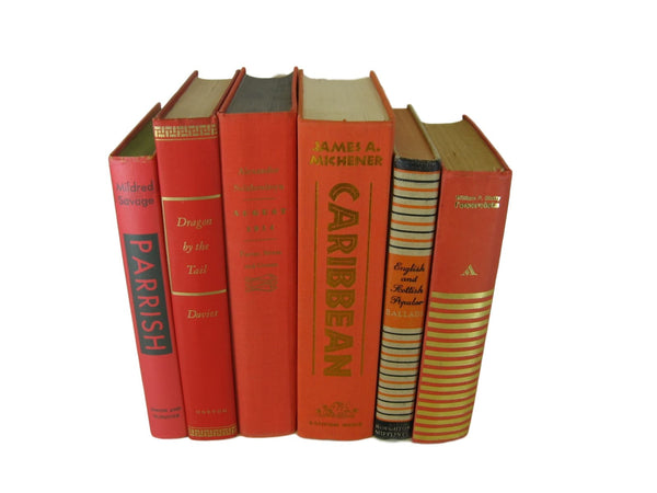 Orange  Vintage Book Set, S/6 - Decades of Vintage