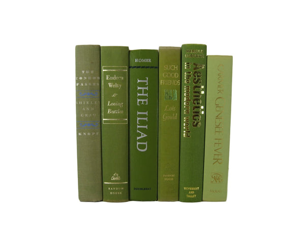 Vintage Books in Shades of Green, S/6 - Decades of Vintage