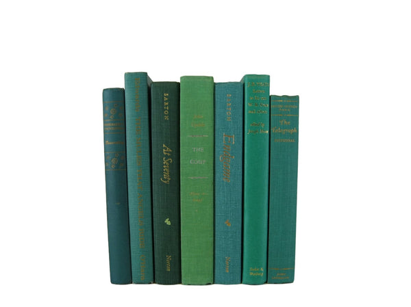 Green  Blue Decorative  Books, S/7 - Decades of Vintage