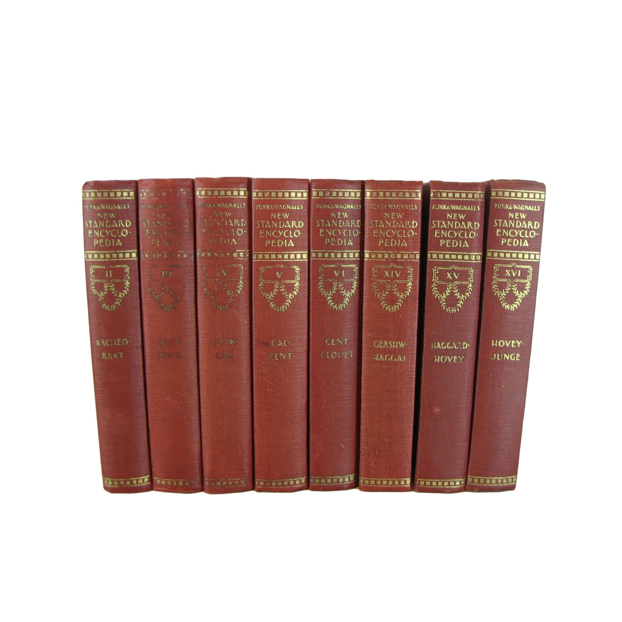 Palm-Size Red Decorative Books, Funk & Wagnalls New Standard Encyclopedia, S/8 - Decades of Vintage
