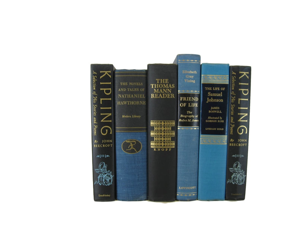 Blue and Black Set of Decorative Books, S/6 - Decades of Vintage
