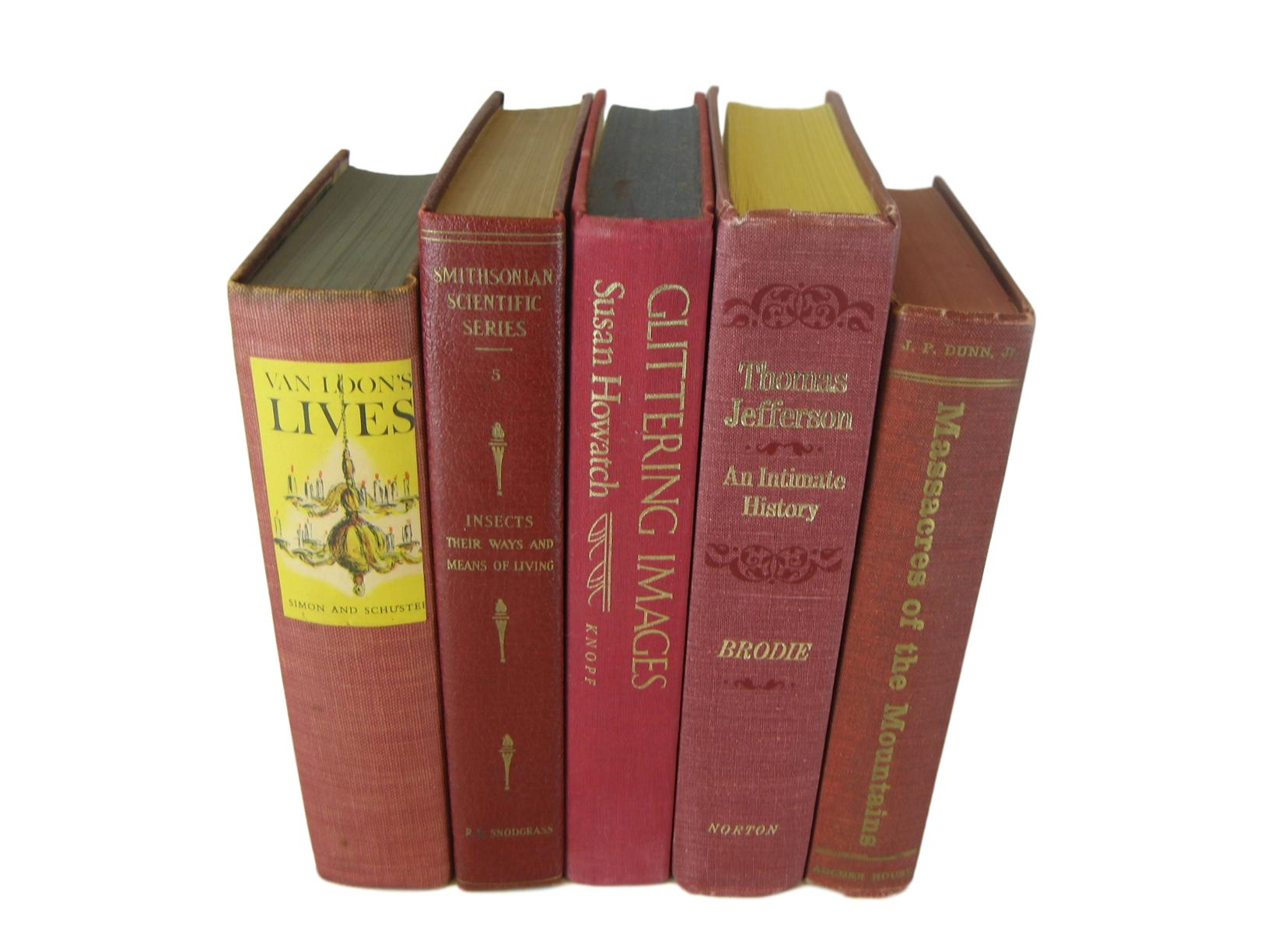Red Decorative Book Set, S/5 - Decades of Vintage