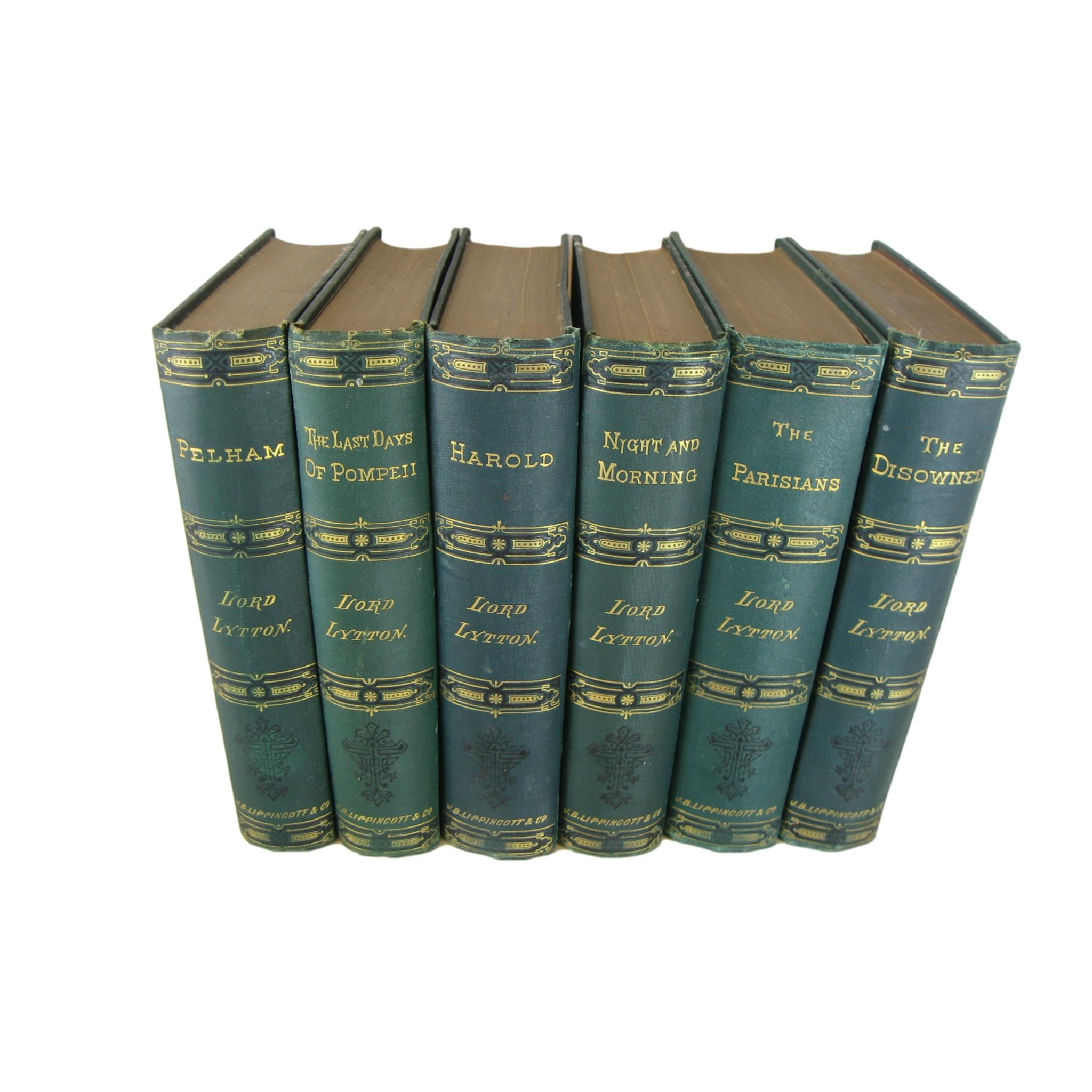 Antique Decorative Book Set of Works of Lord Lyyton, S/6 - Decades of Vintage
