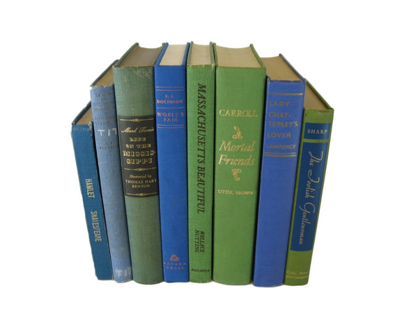 Blue and Green Vintage Books, S/8 - Decades of Vintage