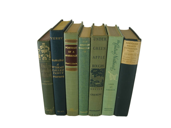 Green Vintage Book Set for Farmhouse Decor, S/7 - Decades of Vintage
