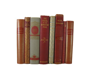 Decorative  Book Stack in Red and Neutral Tones, S/8 - Decades of Vintage