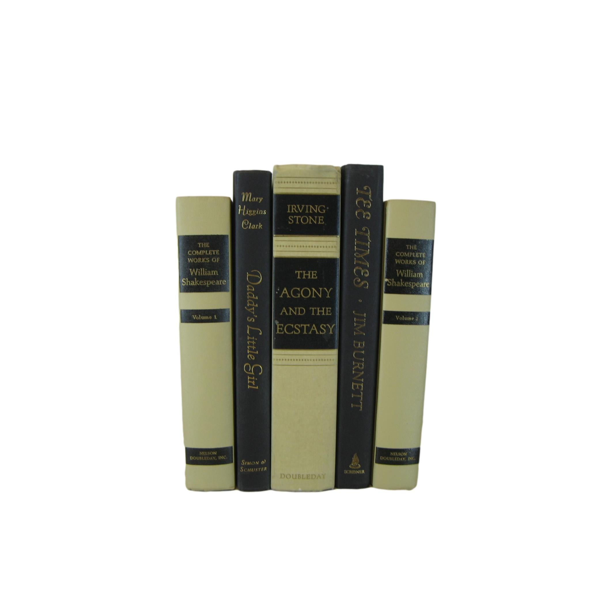 Black and Tan Decorative Book Set, S/5 - Decades of Vintage