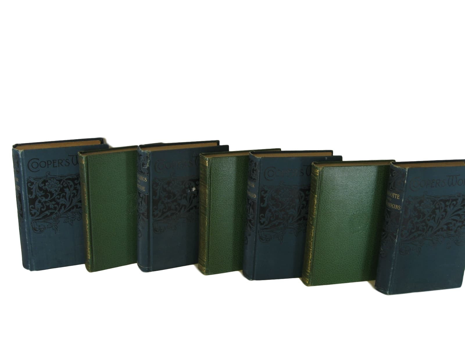 Blue and Green Bookshelf Decor, Vintage Antique Book Set, S/7 - Decades of Vintage