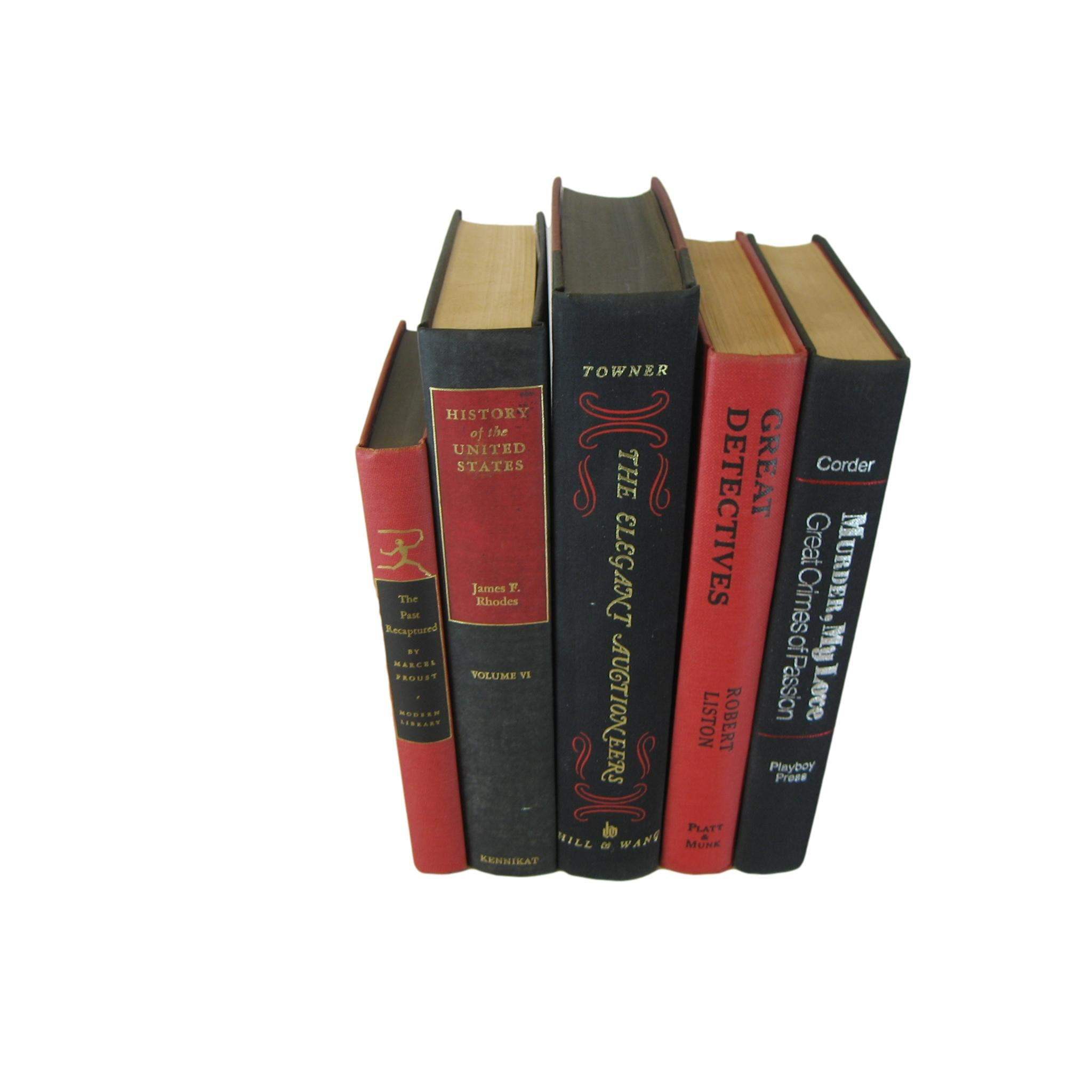 Black and Red Stack of Books, S/5 - Decades of Vintage