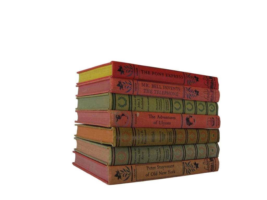 Vintage Books, Landmark Biographies, Decorative Children's Books,  Set of 7 - Decades of Vintage