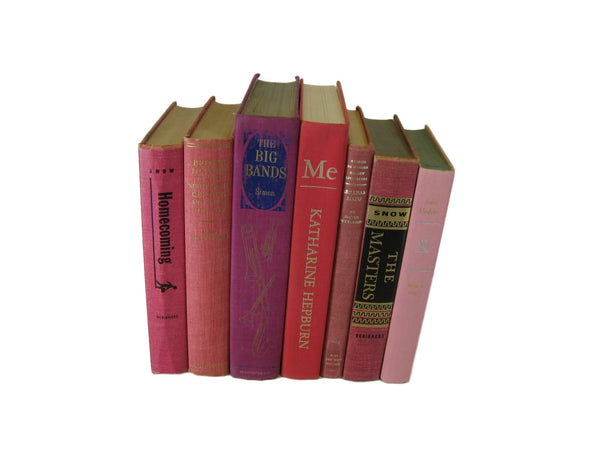 Pink Decorative Vintage Books by Color, S/7 - Decades of Vintage