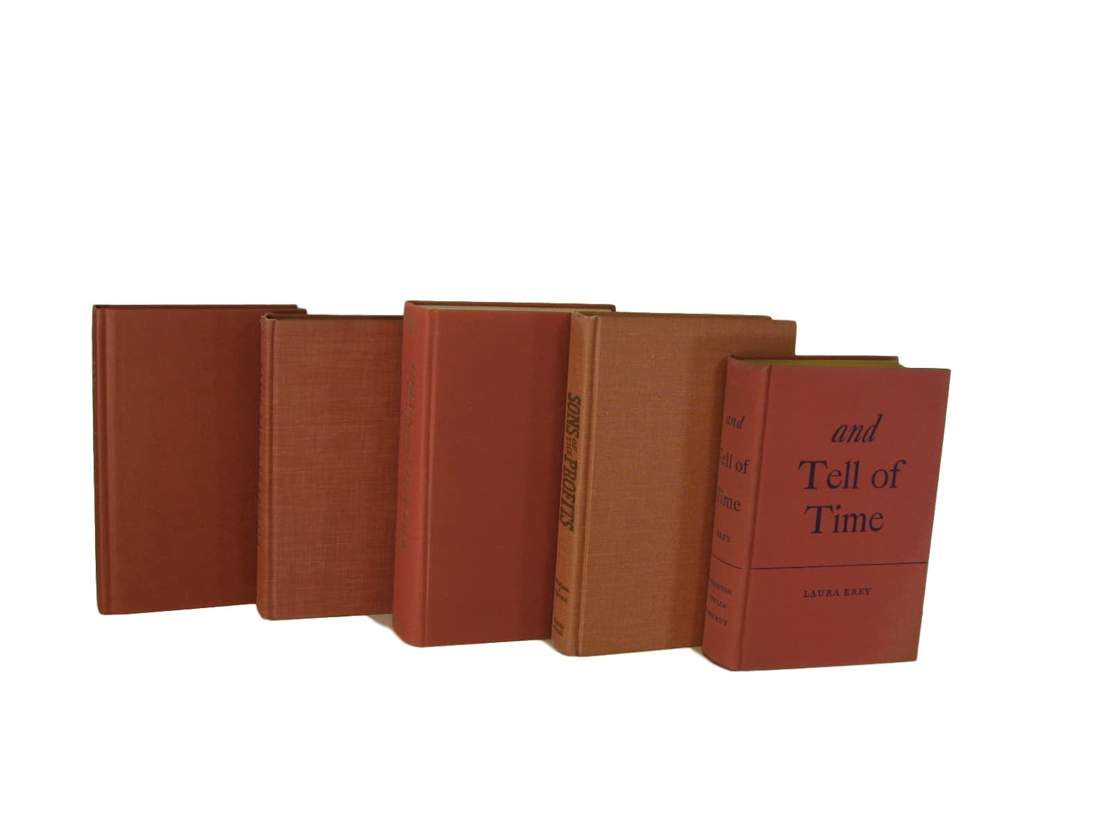 Earth-tone Orange Terra Cotta  Vintage Books  for Decor, S/5 - Decades of Vintage