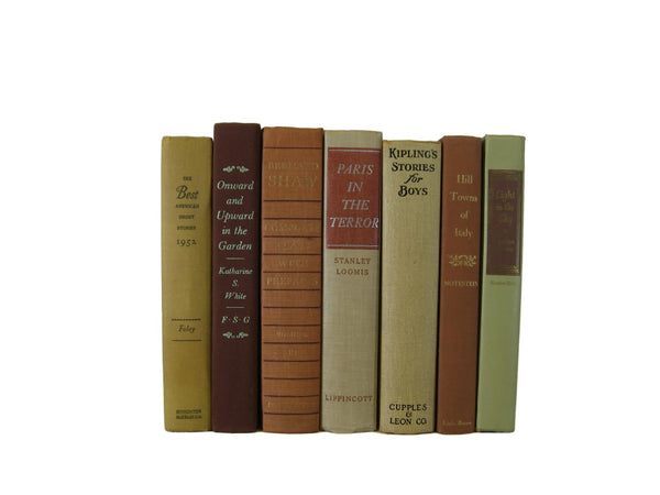 Brown Tan  Books for Farmhouse Book Decor, S/7 - Decades of Vintage