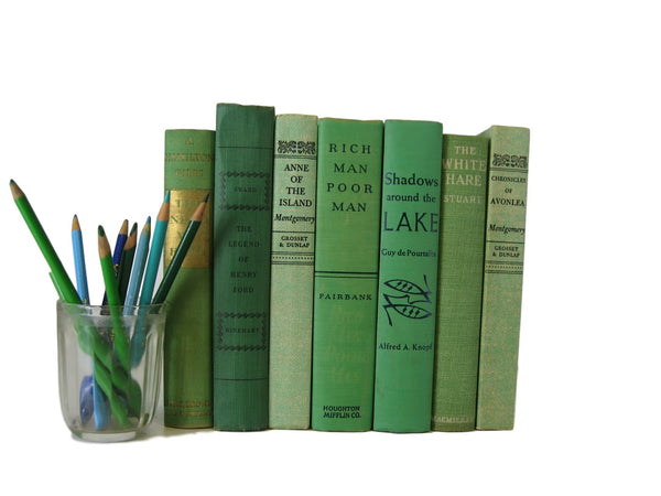 Green vintage book , decorative books with black accents for home decor and bookshelf accent