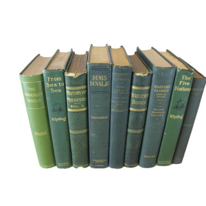 Green Vintage and Antique Decorative Books by the Foot, S/9 - Decades of Vintage