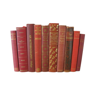 Red  Foot of Vintage and Antique Decorative Books, S/10 - Decades of Vintage