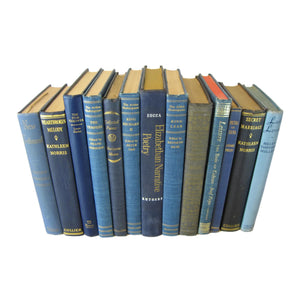 Blue Foot of Books for Bookshelf Styling, Antique Decorative Books, S/13 - Decades of Vintage