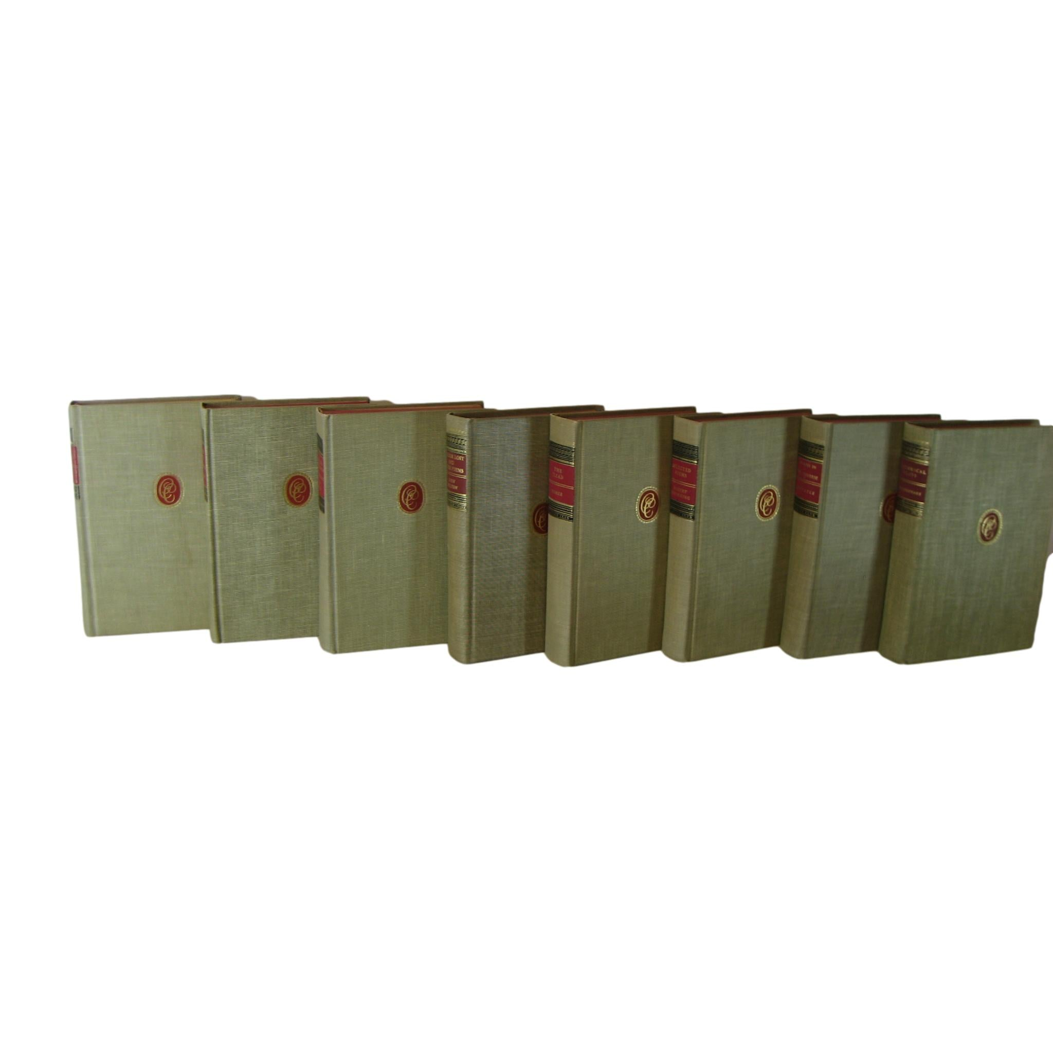 Vintage Decorative Classic Club Books for  Home Decor  in Red and Oatmeal, S/8 - Decades of Vintage