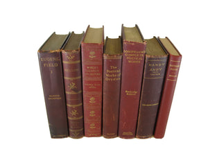 Burgundy Maroon Antique Decorative Books, S/7 - Decades of Vintage