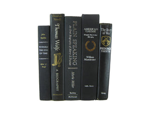 Black Decorative Books for Home Decor, S/5 - Decades of Vintage