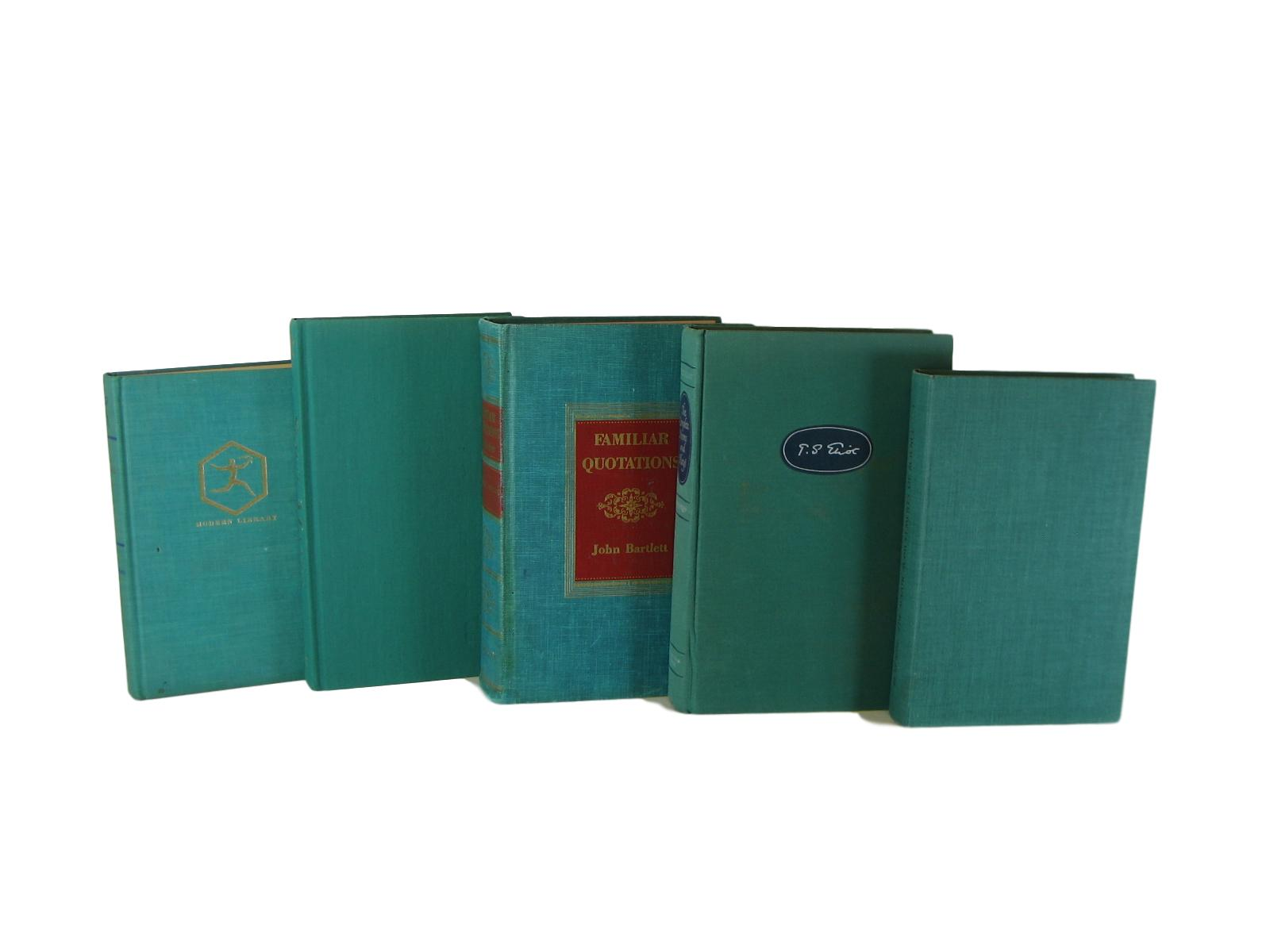 Green Vintage Decorative Books for Display , S/5