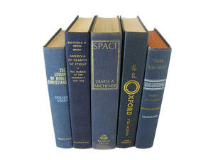 Blue  Vintage Books for Shelf  Decor, S/5 - Decades of Vintage
