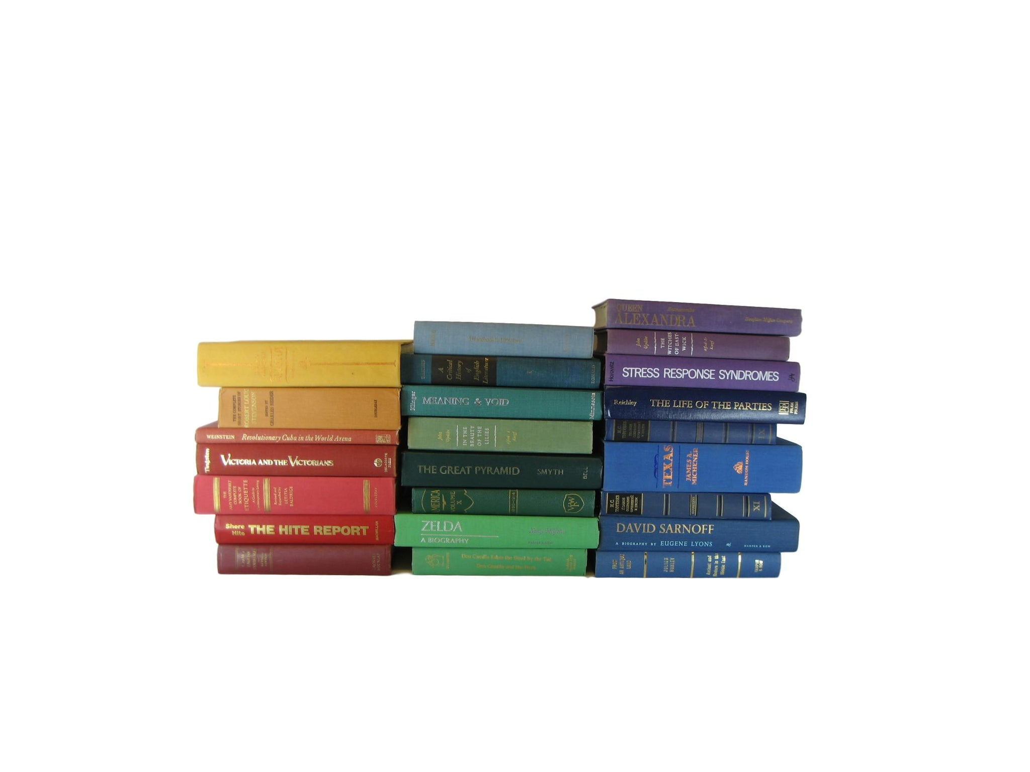 Rainbow Shades of Decorative Books by the Foot - Decades of Vintage
